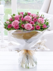 Pink Lisianthus and Rose Hand-tied