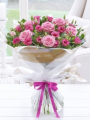 Happy Birthday Pink Lisianthus and Rose Hand-tied
