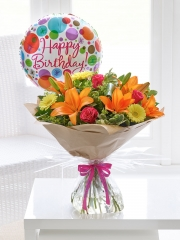 Happy Birthday Summer Sunshine Hand-tied with Happy Birthday Balloon